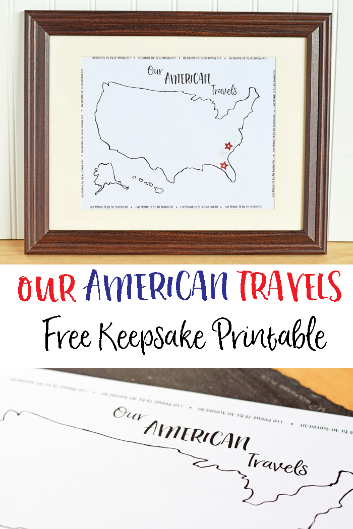 Print this Our American Travels FREE Keepsake Printable and frame it. Add a sticker for each state that you visit as a family.   AD