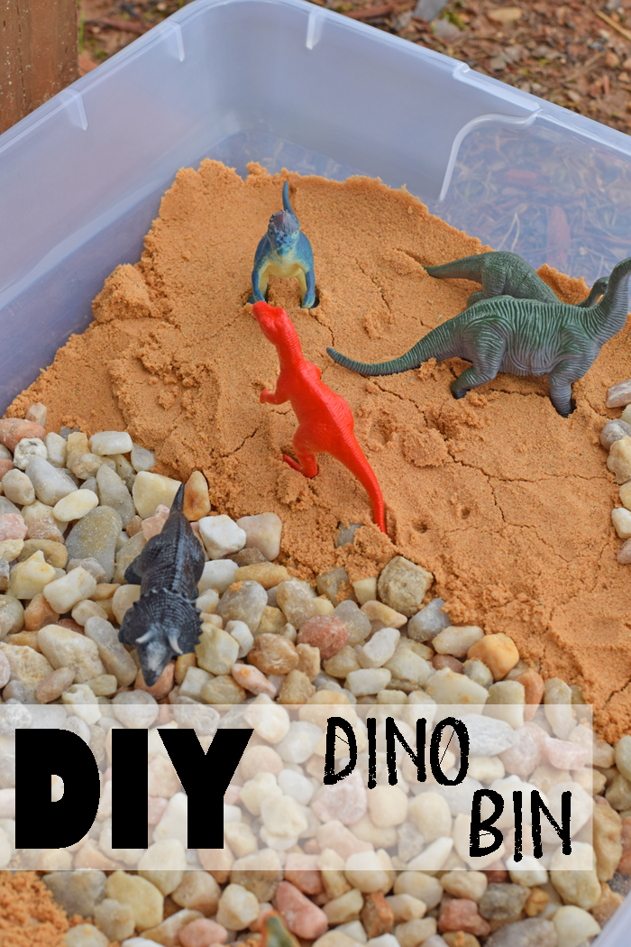 Have a little one who likes dinosaurs? Make them this DIY Dino Bin for fun outside play! includes supply list and tutorial AD