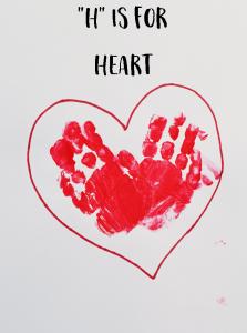 """Letter """"H"""" Heart Handprint Art for Preschoolers"""