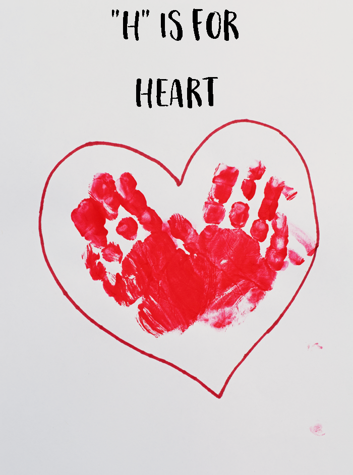 "Letter ""H"" Heart Handprint Art for Preschoolers"