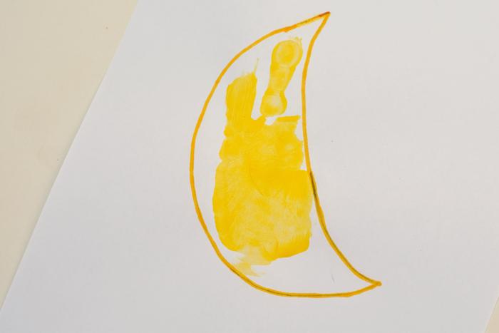 """Letter """"M"""" Moon Handprint Art for Kids"""