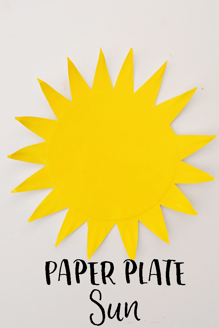 Easy Paper Plate Sun Kid's craft for First Day of Summer. This is a fun craft for preschoolers or younger kids