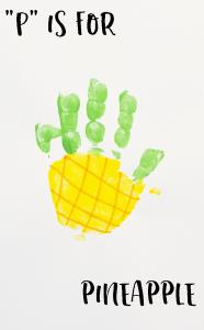 """Letter """"P"""" Pineapple Handprint Art for Preschoolers"""