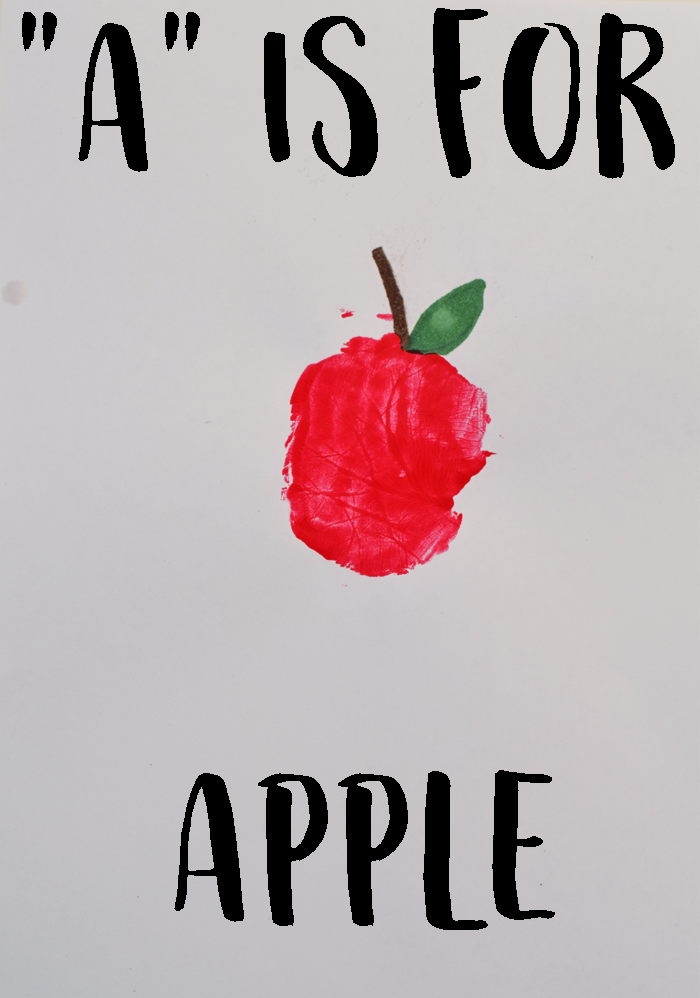 "Letter ""A"" is for Apple Handprint art for preschoolers"