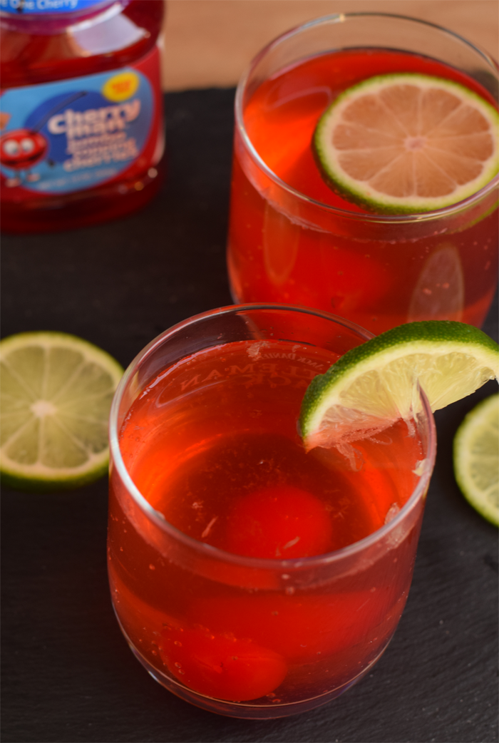 Cherry Limeade with a Cherry Drink Stirrer AD