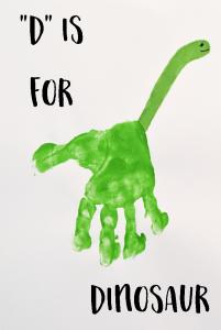 Letter D Dinosaur Handprint Art for Kids