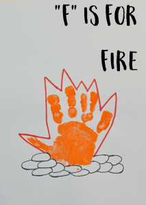 "Letter F ""Fire"" Handprint Art for Preschoolers"