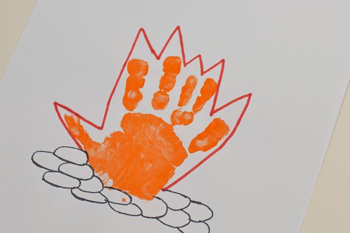 "Letter F ""Fire"" Handprint Art for Preschoolers"