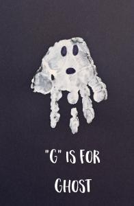 """Letter G """"Ghost"""" Handprint Art for Preschoolers"""