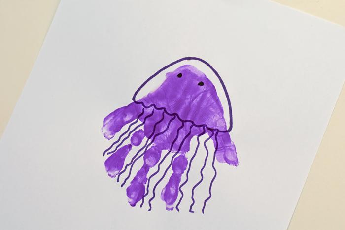 """Letter """"J"""" Jellyfish Handprint Art for Preschoolers"""