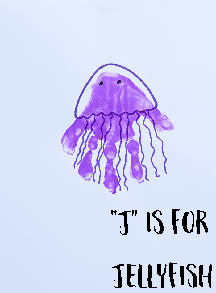 "Letter ""J"" Jellyfish Handprint Art for Preschoolers"
