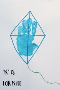 """Letter """"K"""" Kite Handprint Art for Preschoolers"""