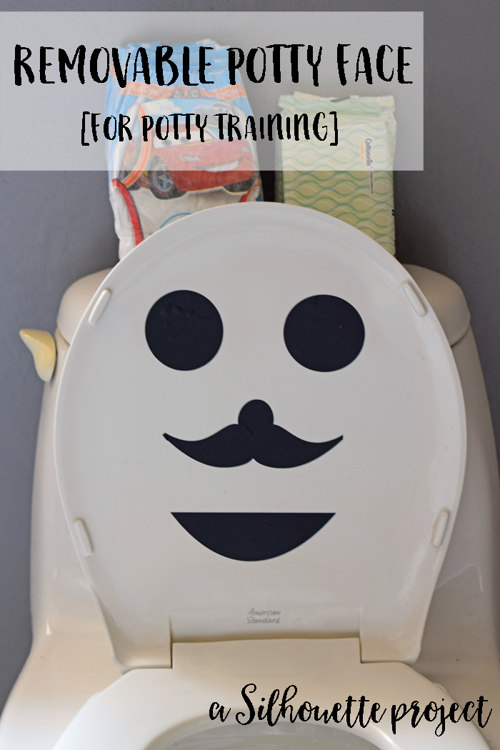 Removable Potty Face for Potty Training AD Use a Silhouette, Cricut, or other die cutting machine to create a face out of vinyl to place on the toilet lid for those kids who are scared of the big potty
