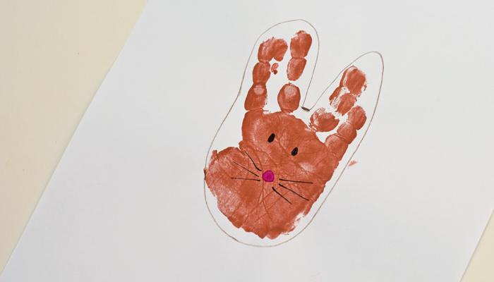 """Letter """"R"""" Rabbit Handprint Art for Preschoolers"""