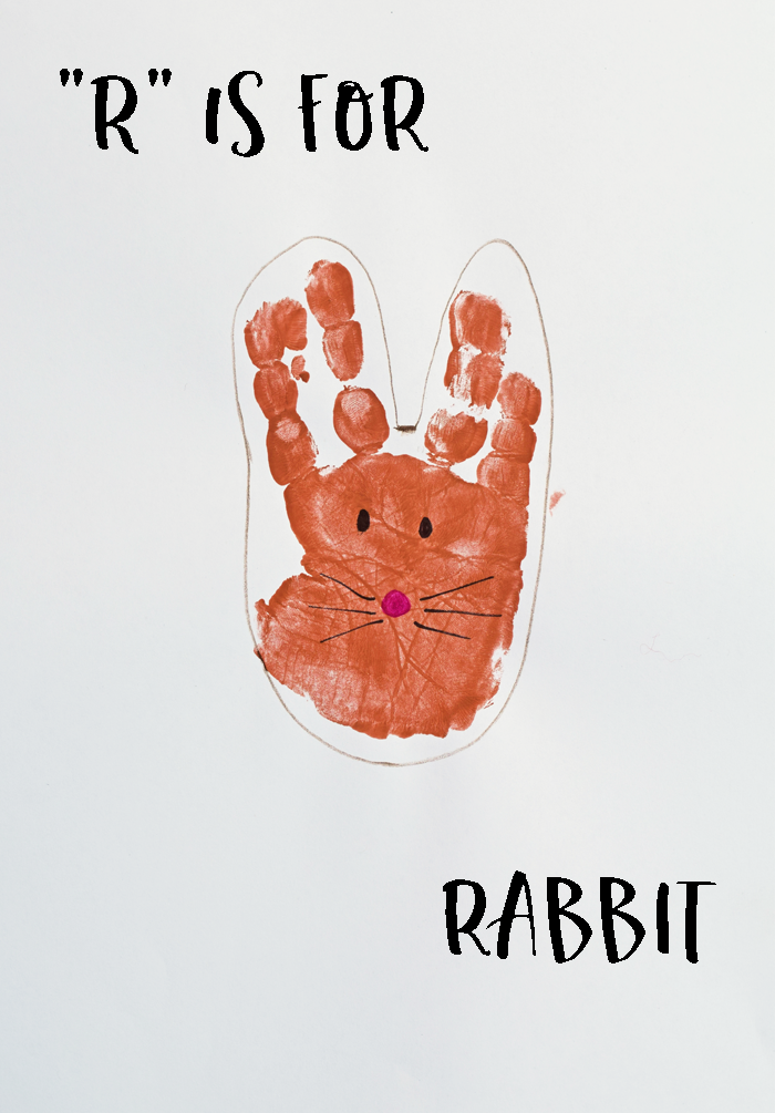 "Letter ""R"" Rabbit Handprint Art for Preschoolers"