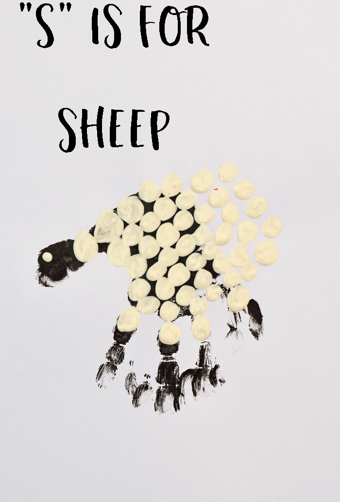 "Letter ""S"" Sheep Handprint Art for Preschoolers"