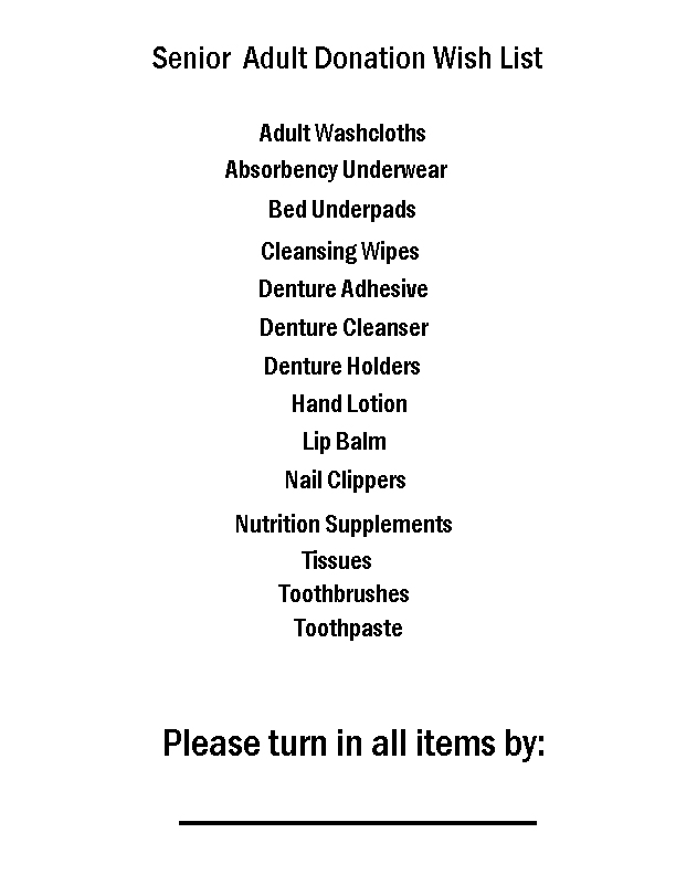 Tips for Organizing a Successful Senior Adult Donation Drive AD Includes a free printable sign and a sample wish list