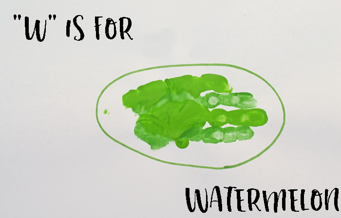 "Letter ""W"" Watermelon Handprint Craft for Preschoolers"