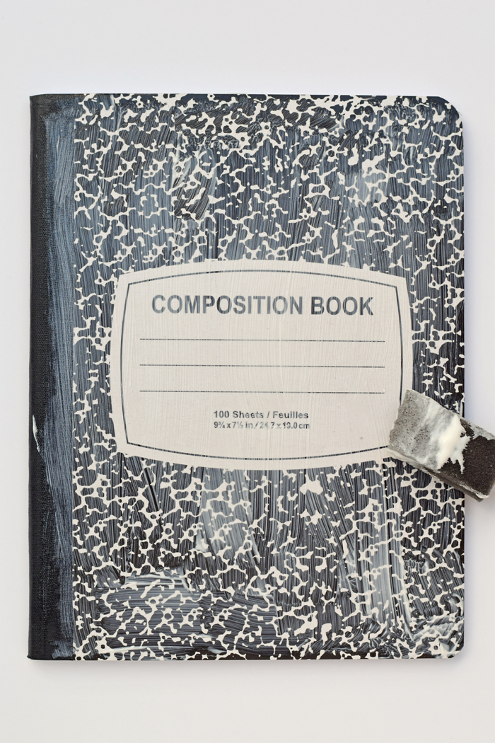 This Fabric Covered Composition Book is a great back to school craft. AD