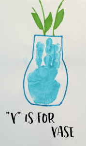 """V"" is for Vase Handprint Craft for Preschoolers"