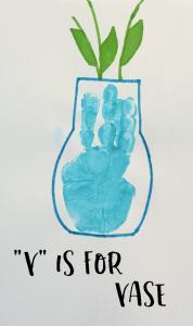 """""""V"""" is for Vase Handprint Craft for Preschoolers"""