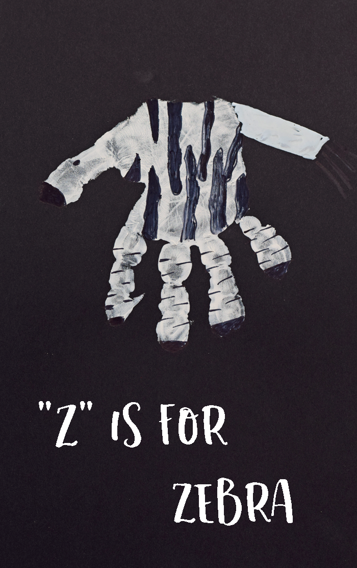 "Letter ""Z"" Zebra Handprint Craft for Preschoolers"