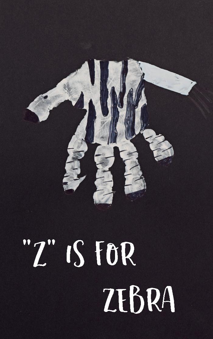 "Letter ""Z"" Zebra Handprint Craft for Preschoolers"