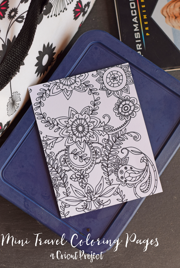Mini Travel Coloring Pages made with the Cricut Explore Air