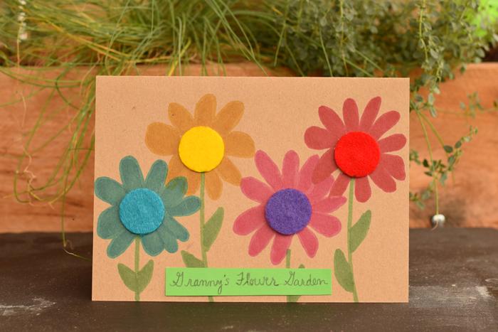 Felt Circle Flower Garden Greeting Card