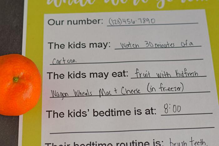 Free Printable Babysitting Notes AD
