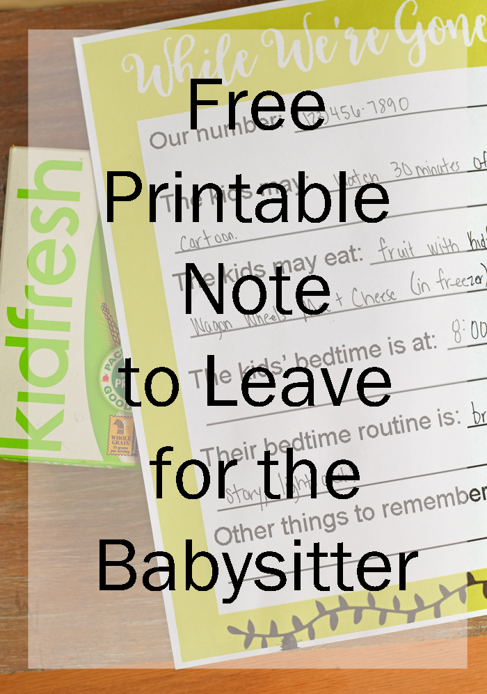 Free Printable Babysitting Notes AD