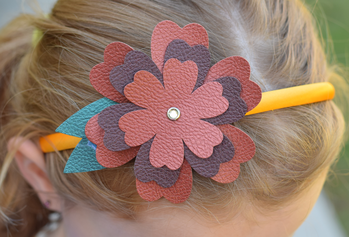 Faux Leather Flower Headband
