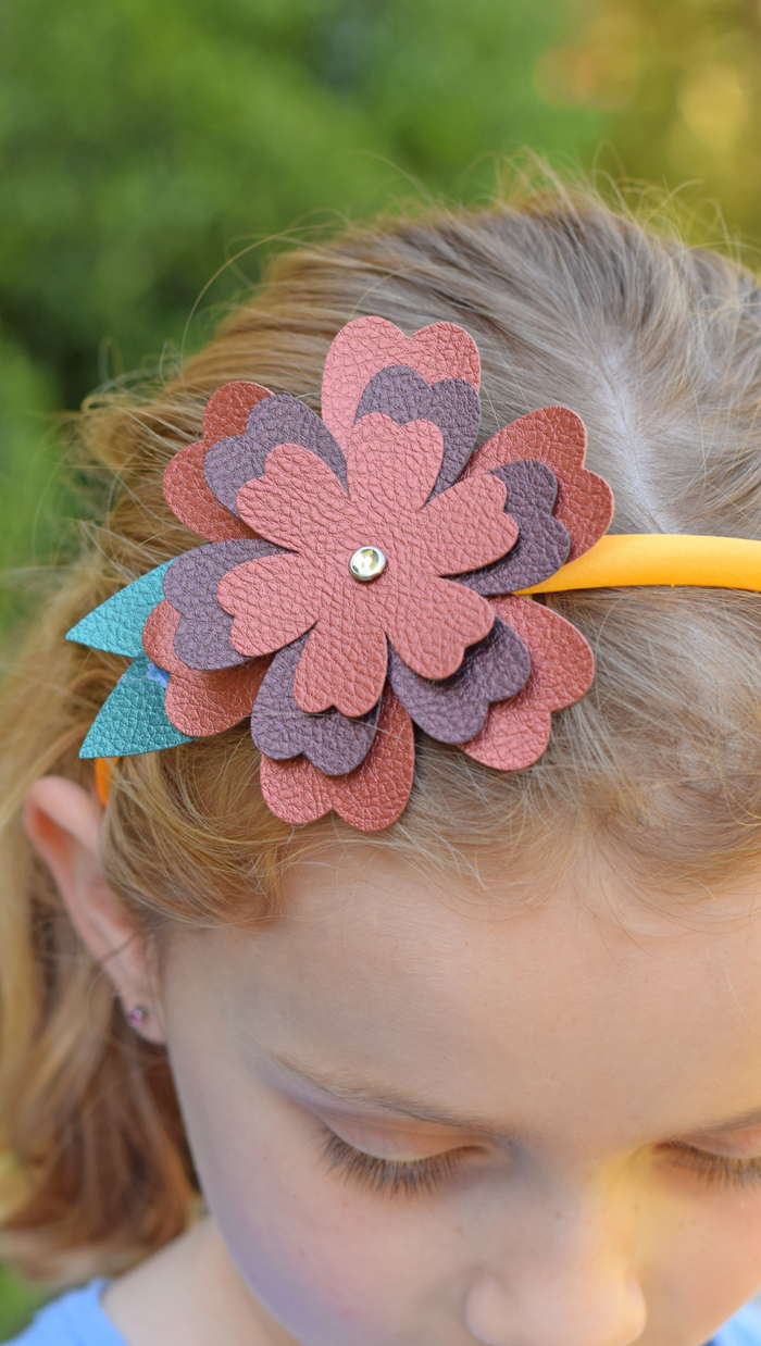 DIY Faux Leather Flower Headband AD