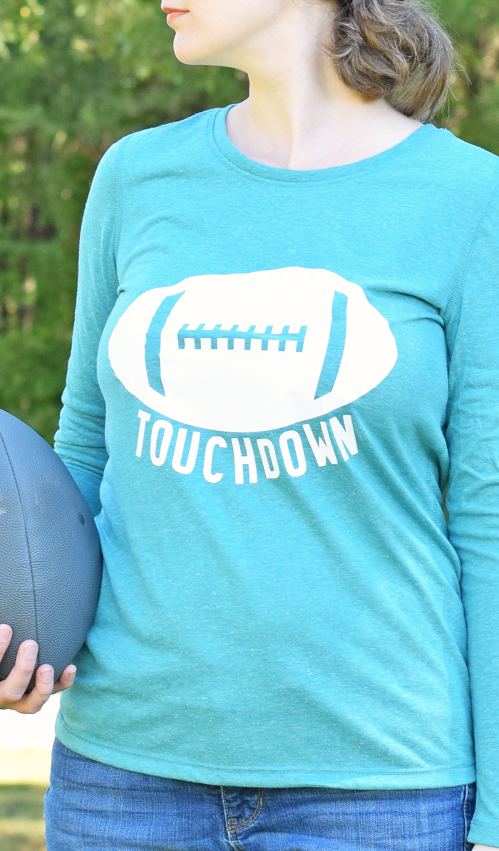 Touchdown Football Shirt Made with Cricut Design Space and Cricut Heat Transfer Vinyl