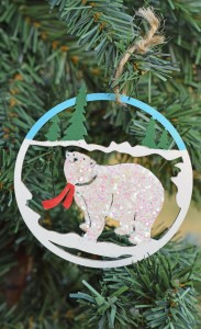 Make a Bear Glitter Christmas Ornament with paint, glitter, and glue. AD