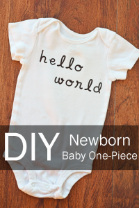 DIY Newborn Baby One-Piece made with heat transfer vinyl AD