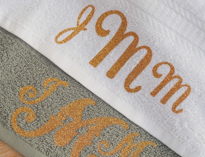 DIY Monogram Towels with heat transfer vinyl AD