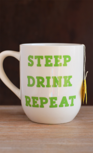 Tea Lover's DIY STEEP DRINK REPEAT Mug made with permanent vinyl AD