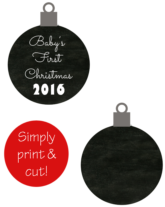 Baby's First Christmas Printable Ornament 2016