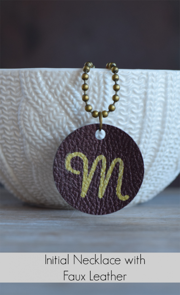 Faux Leather Initial Jewelry Pendant AD