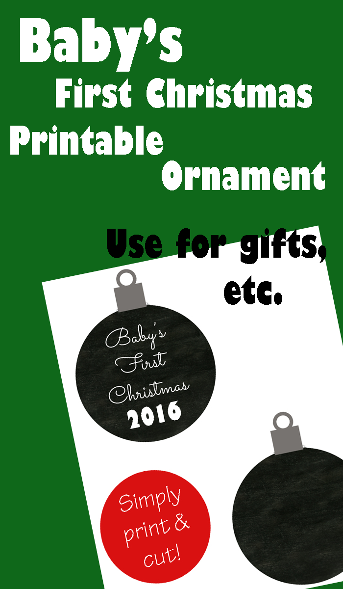 babys first christmas printable ornament 2016