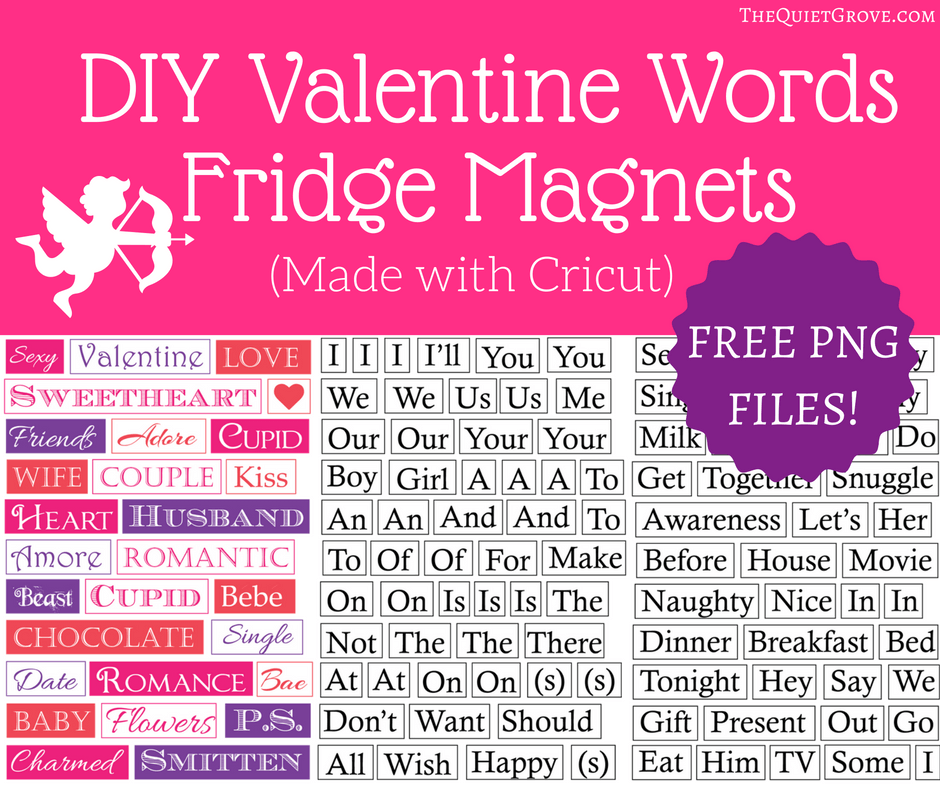 DIY Valentine Word Fridge Magnets from The Quiet Grove