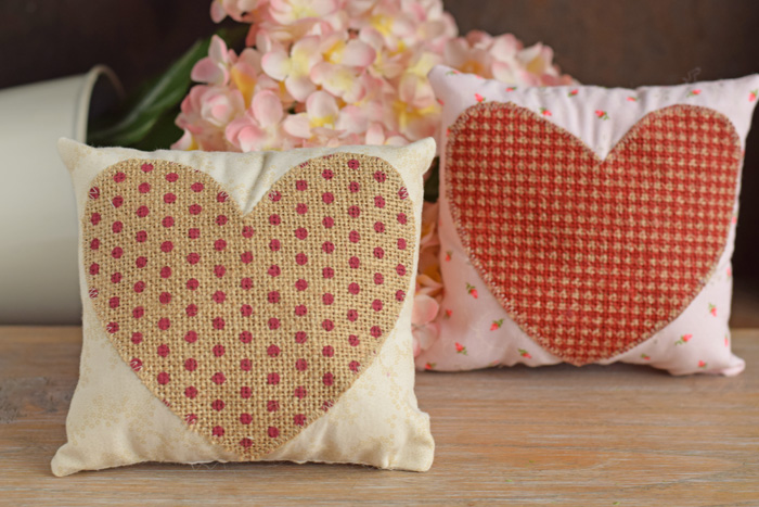 Mini Valentine's Day Pillow with Burlap Heart made with the Cricut Explore AIR AD