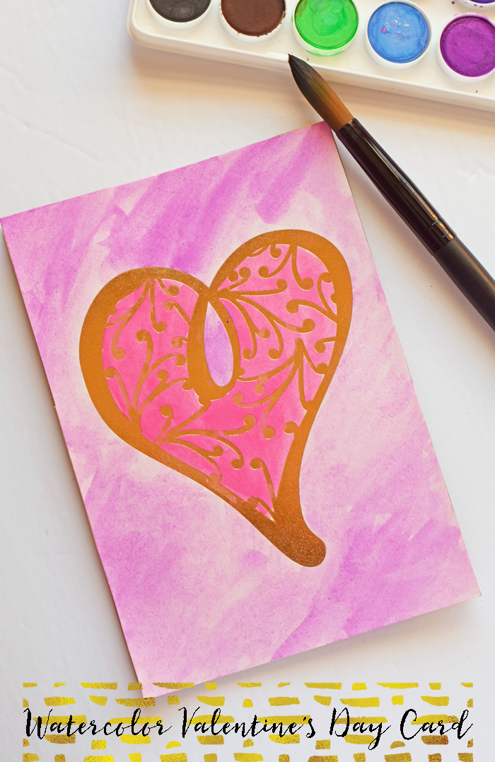 Watercolor Valentine's Day Card