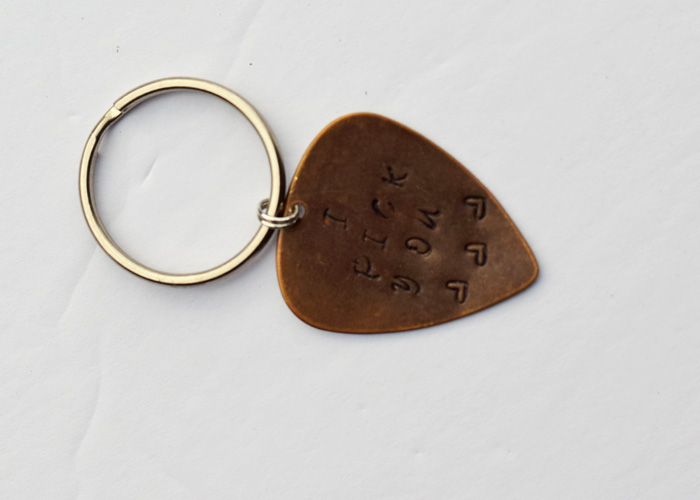 "DIY Metal Stamped ""I Pick You"" Guitar Pick on a keychain. Perfect gift idea for the special someone in your life for Valentine's Day, an anniversary, or Christmas! AD"