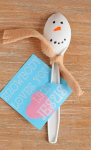 "Snowman Spoon Craft for Kids with free printable that states ""Snowbody Loves You Like Jesus"" for Sunday School or Children's Church"