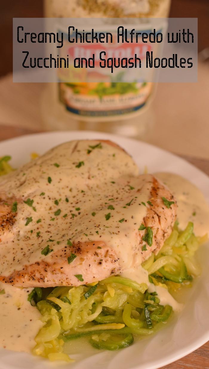 Creamy Chicken Alfredo with Zucchini and Squash Noodles AD
