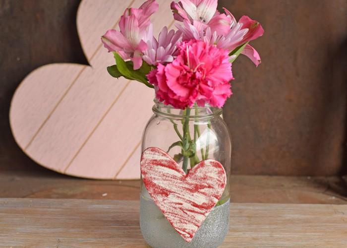 Easy Heart Mason Jar for Valentine's Day