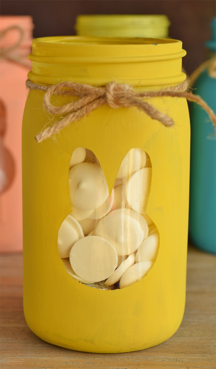 Easter Bunny Mason Jars with chalky finish paint AD