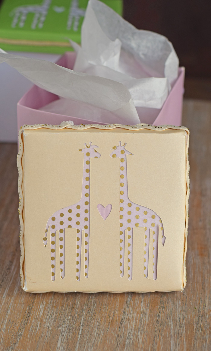 Giraffe Baby Shower Party Favor Gift Boxes with Cricut AD